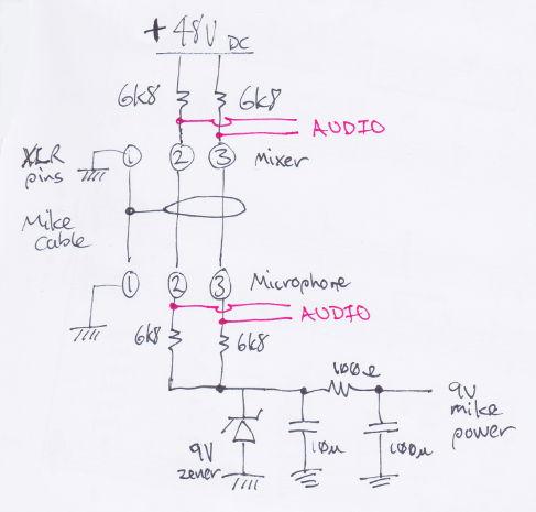 schematic diagram of phantom power circui