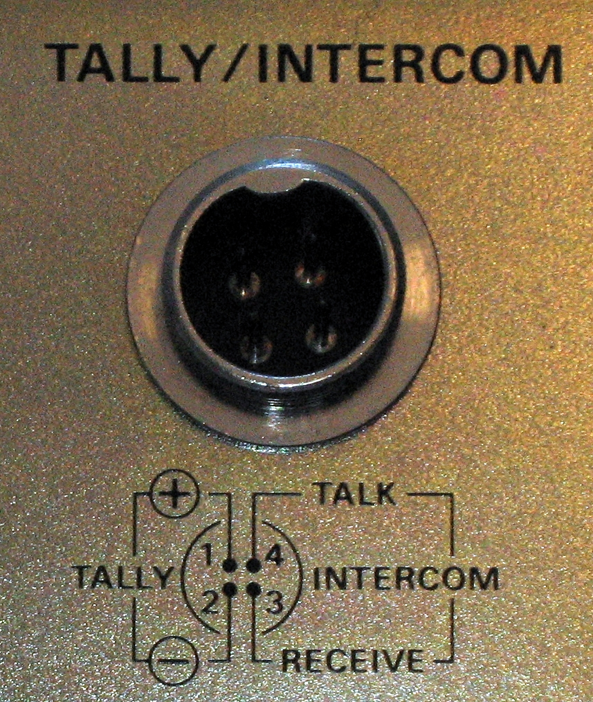 4-pin intercom/tally connector on the WV-RC35 CCU. connector diagram